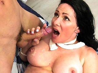 Granny Alexandra Silk Loves To Get Her Tits Covered In Warm Jizz