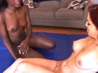 Interracial Girly-girl Orgasm Tussling