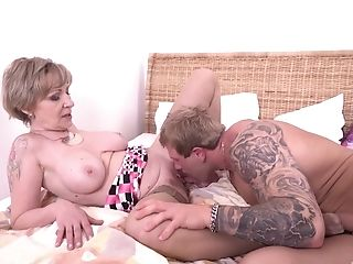 Matures Blonde Brief Haired Granny Mili Guzzles Jizz After Railing