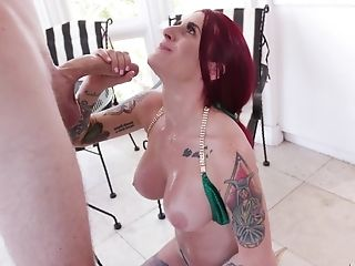 Tattooed Red-haired Tana Lea Ultimately Gets To Gasp On A Big Chisel