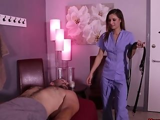Tied Up Defenseless Dude Likes While Avery Moon Strokes His Chisel