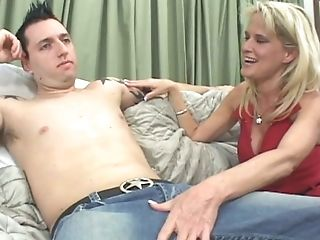 Cougar Blonde Bridgett Lee Entices Youthful Stud And Blows His Dick