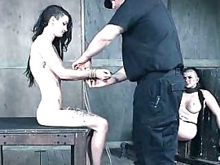 Skinny Lady Tied Up And Hanged Up On A Strap