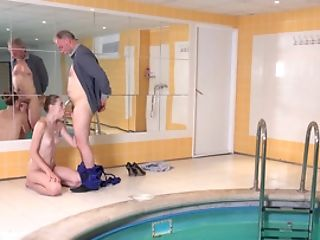 Strapping Old Stud Fucks A Buxomy Blonde Next To The Pool