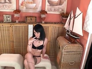 Raven Haired Petite Harlot In Stockings Shows Off Her Treasure On Webcam
