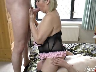Unique Flick Where Buxomy Matures Lady Is Fucked Hard By Two Guys At Once
