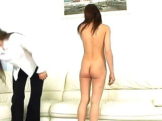 Slender Chick Leans Over The Couch To Get Her Rigid Rump Penalized