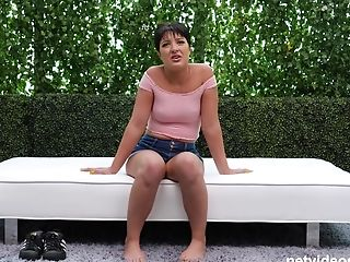 Brown-haired Chick Kiarra Makes A Fat Trunk Vanish In Her Snatch