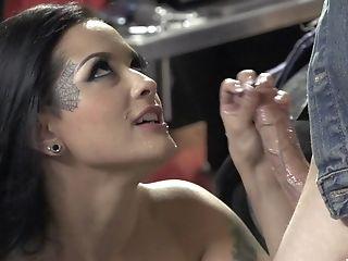 Latina Whore In Fishnets Katrina Jade Rails Hard Dick In A Garage