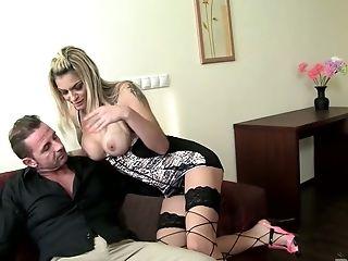 Hetero Haired Blondie Klarisa Poses In Sexy Undergarments For Her Stud