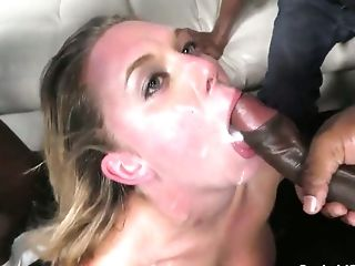 Gorgeous Blonde Milky Chick In The Nightclub Group-fucked By Black Guys