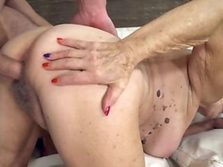 Big Granny Titties Bounce As The Youthful Stud Fucks Her