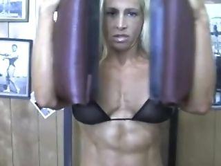 Sexy Blonde Female Bodybuilder In See Thru Top Works Out