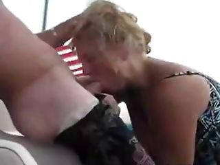 Unexperienced Blonde Sucking And Slurping Boyfriends Ball Sack