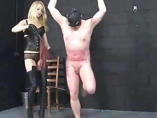 Two Blonde Mistresses Whipping House Boy