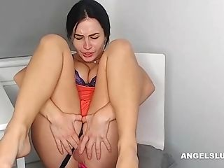 Spreading And Coochie-spreading Pornography Vid Of A Stunning Big Tits Harlot