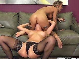Exotic Pornographic Stars Kleio Valentien, Cherie Deville In Crazy Tattoos, Blonde Fuck-fest Clip