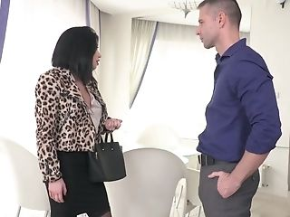 Lovely Brown-haired Businesswoman Blows Dick And Fucks Her Accomplice