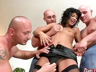 Prick Greedy Tera Joy Gets A Double Penetration Gang-fuck By Three Bald Fellows
